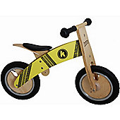 Kiddimoto Kurve -Yellow Tyre Wooden Balance Bike suitable from 3 years+