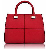 Designer Metallic Detail Red Vintage Squares Tote Bag