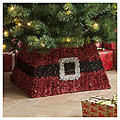 Red Tinsel Christmas Tree Skirt