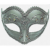 Jewelled Party Mask Silver On Band