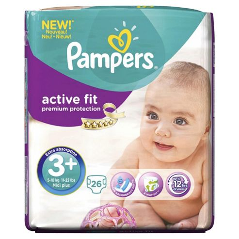 Pampers Active Fit Size 3+ Carry Pack - 26 nappies