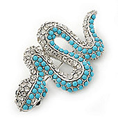 Turquoise Crystal 'Snake' Brooch In Rhodium Plating - 65mm Length