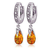 QP Jewellers Citrine & SI-2 Diamond Droplet Huggie Earrings in 14K White Gold