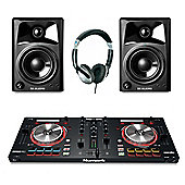 Numark Mixtrack Pro 3 DJ Contoller, M-Audio AV32 Active Monitor Pack, Includes JB's Headphones And Cables