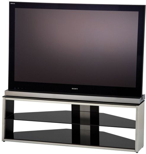 Alphason Tensai, Brushed Steel And Black Glass 3 Shelf Tv Stand For Tv'S Up To 55