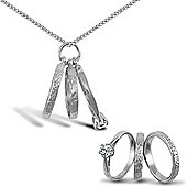 Jewelco London Sterling Silver 3 Ring Charm Pendant - 18 inch Chain