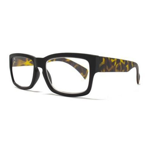Square Reading Glasses with Keyhole Detail in Matt Black Frame and Matt Tortoiseshell Arms  - Lens Strenth 2.5