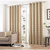 Curtina Braemar Check Natural Eyelet Lined Curtains - 66x90 Inches