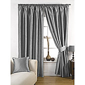 KLiving Pencil Pleat Ravello Faux Silk Lined Curtain 65x90 Inches Silver