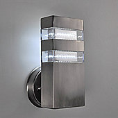 Brooklyn IP44 Rectangle Outdoor LED Wall Light in Brushed Chrome
