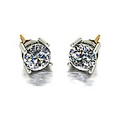 18ct Gold 7.5mm Moissanite Stud Earrings