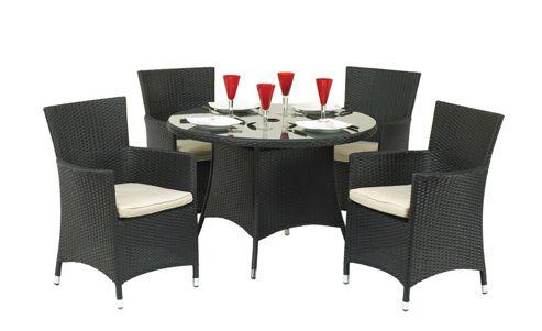 Cannes 4 Seat Dining Set - Ebony Black
