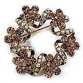 Antique Gold Citrine Crystal Wreath Brooch