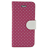 "Tortoiseâ""¢ Folio Case with built in stand, iPhone 5/5S. Mini Polka Dots design, Pink with white spots & tab."