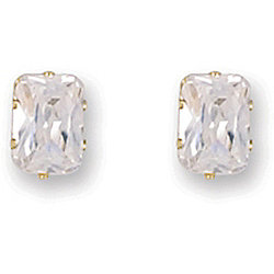 Jewelco London 9ct Yellow Gold studs claw-set with Solitaire rectangular shaped CZ stone