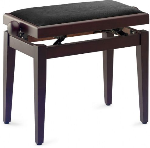 Stagg Piano Stool with Black Velvet Top - Black Highgl