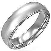 Urban Male Men's Brushed Finish Plain 6mm Stainless Steel Ring