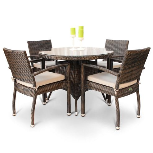 Buy BrackenStyle Diego Rattan Dining Set With Glass Top Table From Our Rattan