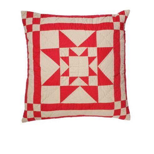 Woven Magic Ohio Star Ecru Red Tea Dyed Cushion