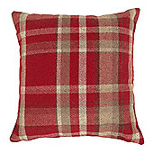 Red 43 x 43 Wool Look Woven Check Cushion