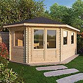 17ft x 10ft (5m x 3m) GRANDE Corner Log Cabin (Double Glazing) 44mm - Left Door
