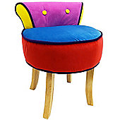 Soleil - Stool / Low Back Chair With Wood Legs - Pink / Yellow / Blue / Red