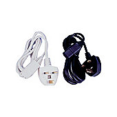 Moulded Iec Euro 3 Pin Mains Power Cable Lead White