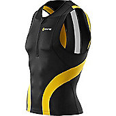 Skins Tri400 Sleeveless Top with Front Zip - Black & Yellow