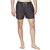 F&F Tonal Stripe Short Length Swim Shorts - Black