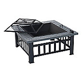 Outsunny Garden Metal Firepit Square Table with Waterproof Cover