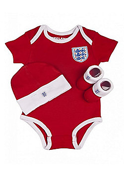 England Football Baby 3 Piece Gift Set, Bodysuit, Booties & Hat - Red - Red