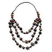 Long Layered Brown Wood Bead Cotton Cord Necklace -90cm Length