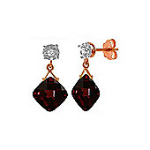 QP Jewellers Diamond & Garnet Deflection Stud Earrings in 14K Rose Gold