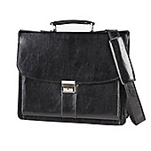 Falcon black leather 16 Inch Laptop Briefcase