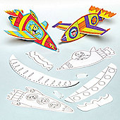 Rocket Colour-in Gliders for Children to Decorate and Personalise Creative Toy Perfect Stocking and Party Bag Filler (Pack of 8)