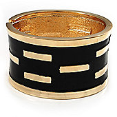 Gold Plated Wide Black Enamel Hinged Bangle Bracelet