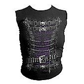 Spiral Waisted Corset Sleeveless T-shirt, Adult Female, Medium, Black - Other