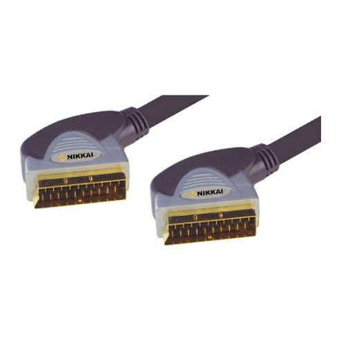 Nikkai Scart 21Pin Lead Cable 24K Gold Connectors 0.75M