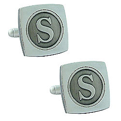 Antiqued Silver Plated Initial - S Cufflink - Single