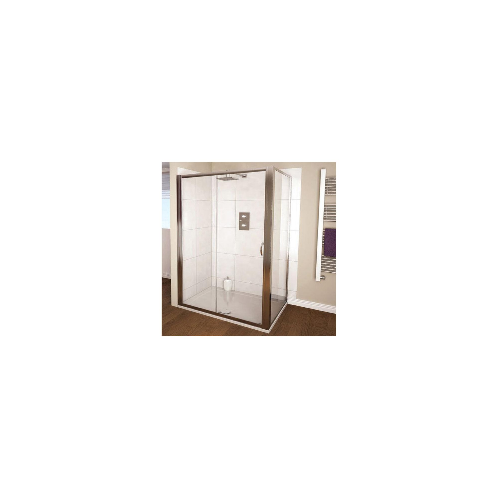 Aqualux AQUA4 Bi-Fold Shower Door, 900mm Wide, Polished Silver Frame, 4mm Glass at Tesco Direct
