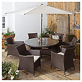 Rattan Round Garden Dining Set, Brown, 8 piece