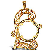 Jewelco London 9ct Solid Gold casted full-size Pound sign Sovereign coin pendant mount