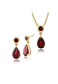 Gemondo 9ct Yellow Gold Mozambique Garnet Two Stone Drop Earrings & 45cm Necklace Set