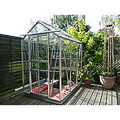 Simplicity Sandon 4x4 Plain Aluminium Greenhouse with Horticultural glass and metal base