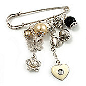 'Heart, Butterfly, Flower & Bead' Charm Safety Pin (Silver Tone)