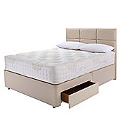 Relyon Double Divan Bed Set, Natural Lambswool With Padded Top, 2 Drawer Storage