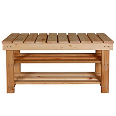 Buy Bench Solid Wood Slatted Storage Seat Bench