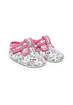 B Baby's Floral T-Bar Shoes Size 6-9 months