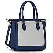 KCMODE Womens Navy / White Colour Block Tote Handbag