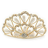Bridal/ Wedding/ Prom/ Party Gold Plated Swarovski Crystal, Pearl Hair Comb/ Tiara - 9.5cm